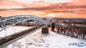 Bridge, Winter, Sunset