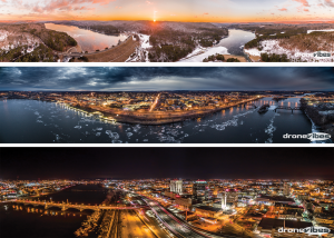 Sunset, Twilight, and Night Drone Panoramas. Captured with DJI Phantom 3.