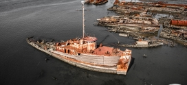 Behind The Scenes: Haunting Drone View of an Abandoned Ship Graveyard in NYC